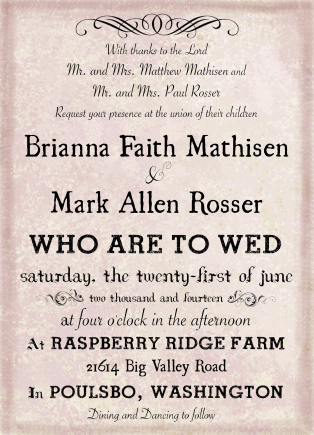 Rosser Wedding Invitation