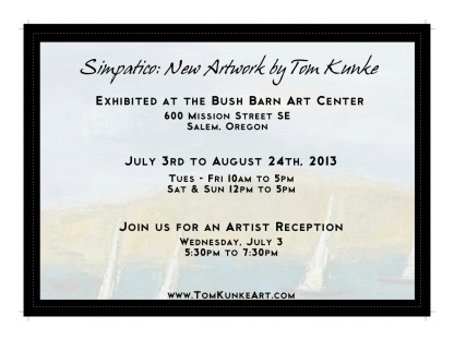 Tom Kunke Art; Flat invitation: Back
